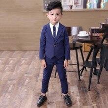 Spring Autumn New British Wind Childrens Boy Suit Gentleman  Button Blazer + Pants Formal Clothes