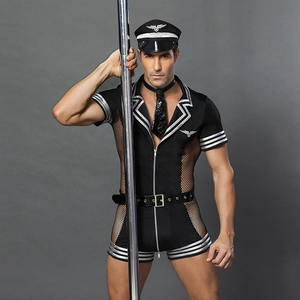 Image 3 - JSY adult men clothes for sex erotic costumes sexy lingerie role playing policeman costume mens black polyester clubwear 6609