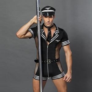 Image 3 - JSY erwachsene männer kleidung für sex erotische kostüme sexy dessous rolle spielen polizist kostüm herren schwarz polyester clubwear 6609