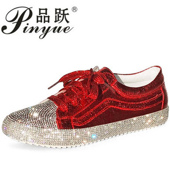 2018 Spring Fashion Brand Lady Shoes Women Sneaker Rhinestone Silver Girl Crystal Bling Cross-tied Lace Up Glitter Red leather