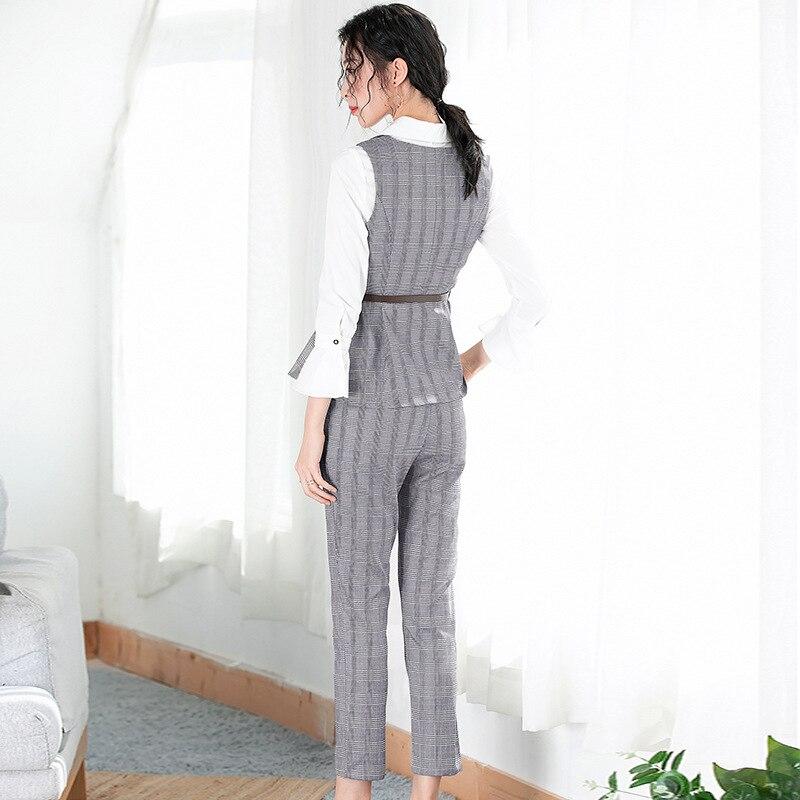 Deux Blouse Printemps Du 2 Pour Plaid Début Pièce Pantalon Gilet Chemise Lady Au 2019 Les Nouveau Costume Tenues Ellacey Femmes Office De Pièces wUIqxZXn7