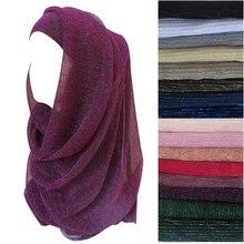10 sztuk/partia Shimmer Glitter marszczone długi z pałąkiem na głowę moda szalik hidżab głowy Wrap Muslim szale lekki elastyczny ściągacz