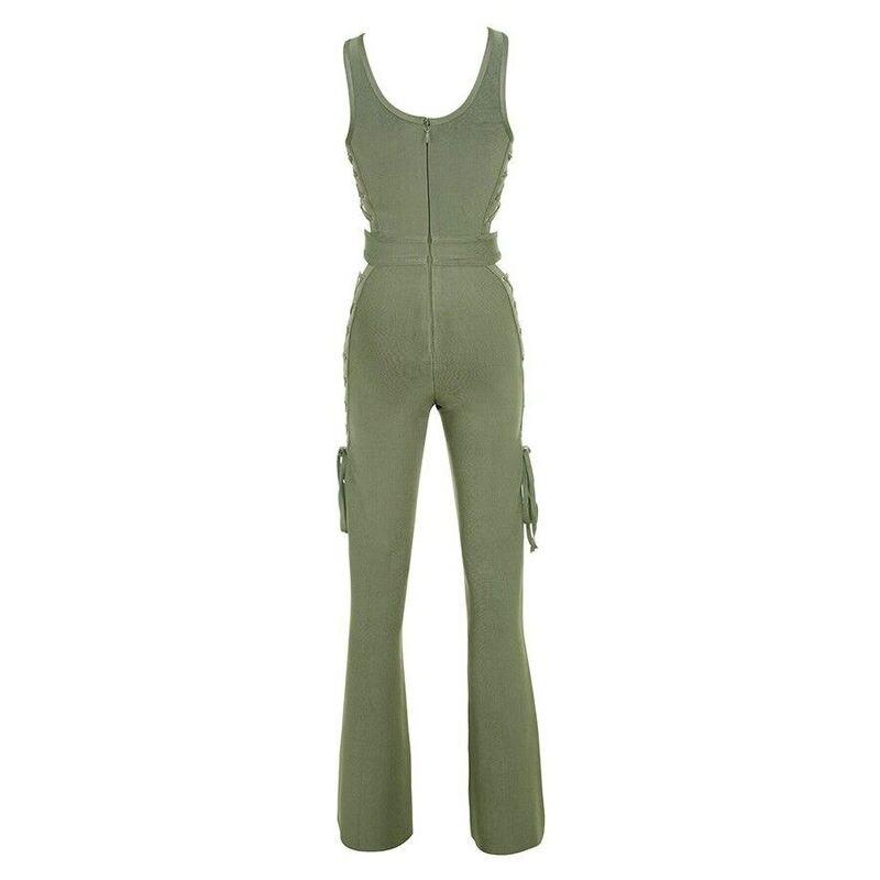 Sans Bandage Mode army Salopette Longueur Femmes Pleine Vert Solide Manche Nouveau Évider 2017 Green Noir Clair Iw7xq5BTIn