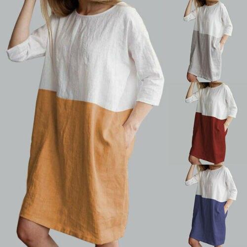 New 2019 Women Summer Pullover Plain Baggy Loose Dress Ladies Three Quarter Sleeve Sundress Plus Size S-2XL