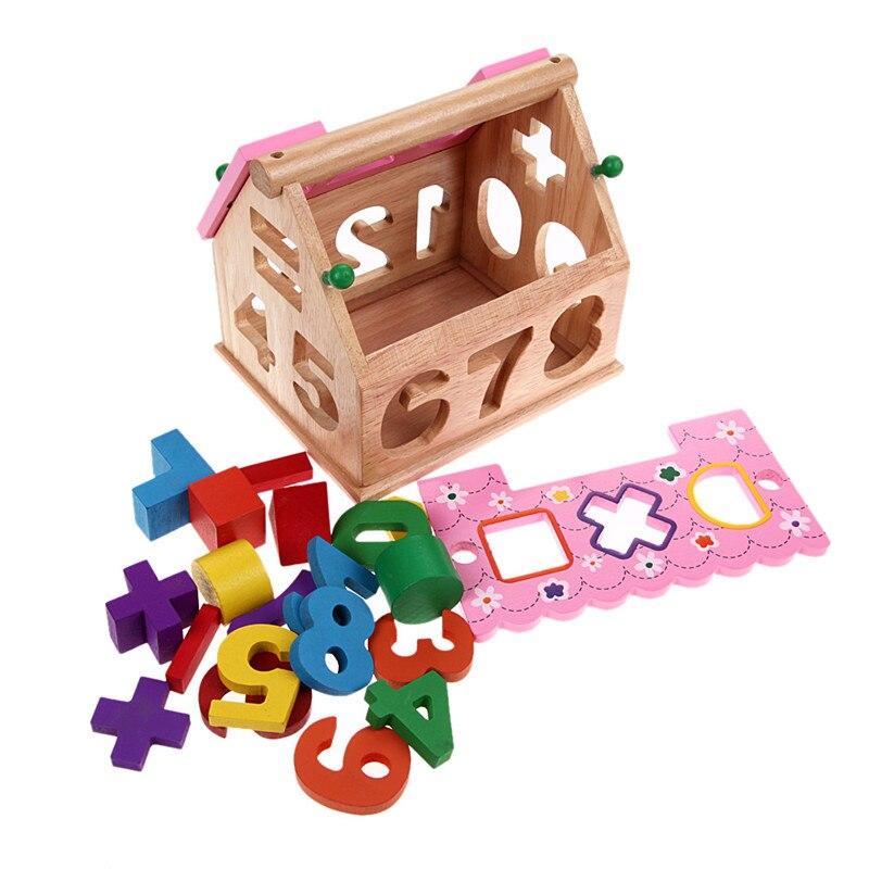19Pcs Building Blocks Kids Wooden Toys Smart House Childrens Educational Toys Christmas Birthday Gift