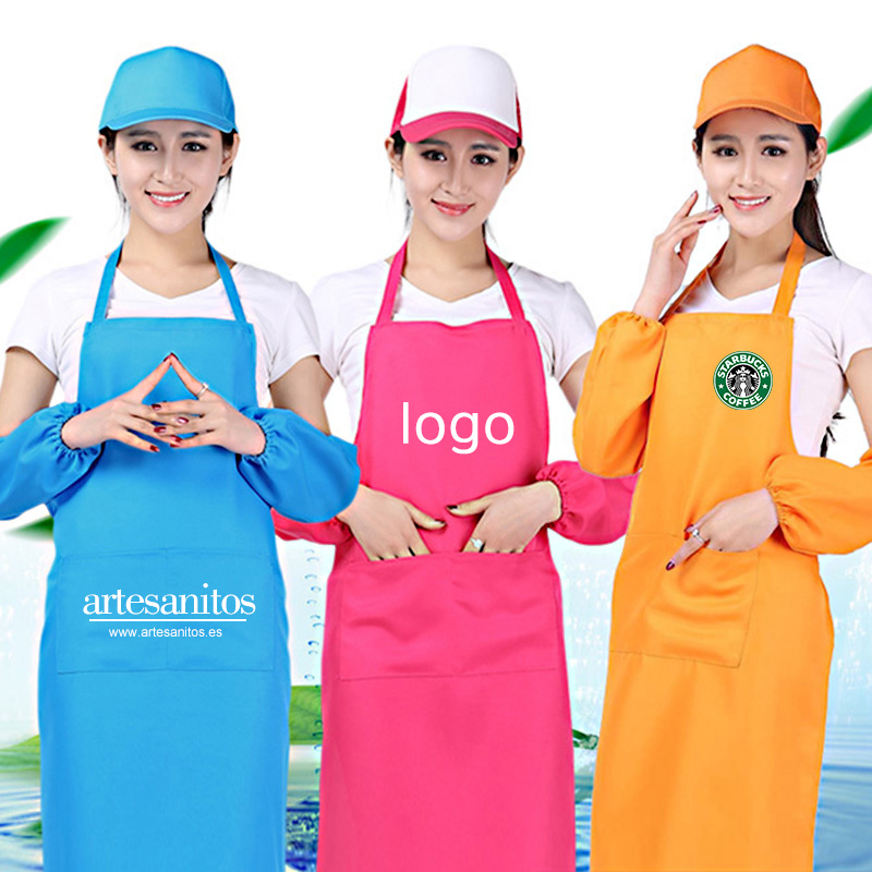 Home Kitchen Restaurant Unisex Aprons with Front Pocket Chefs Butchers Cookware Craft Baking Cooking Print Logo from 10 pcs