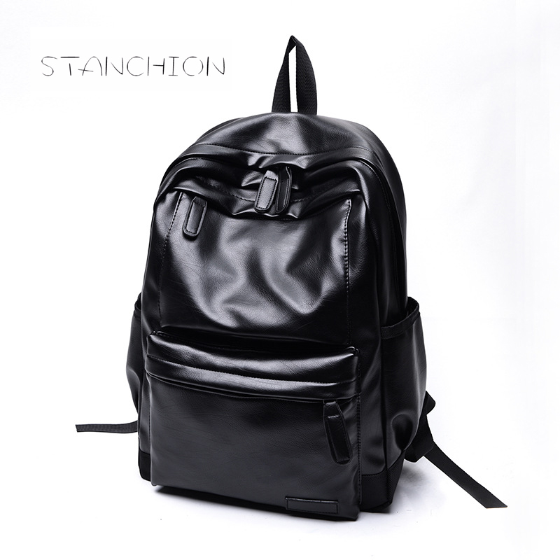 Backpack Faux Leather Women Daily Portable Multifunctional Rucksack Solid Zipper Embossing Leisure Student Schoolbag
