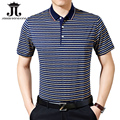 Silk Men's polo shirts soft Summer shorts polo for men clothing breathable Striped slim collar casual XXXL camisa homme M-3XL