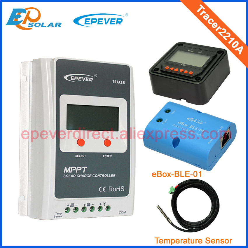 MPPT solar regulator 20A Tracer2210A lcd display with MT50 BLE function and temperature sensor two color choices mt50 solar regulator 20a mppt tracer2210a with ble and sensor for 12v 24v auto work