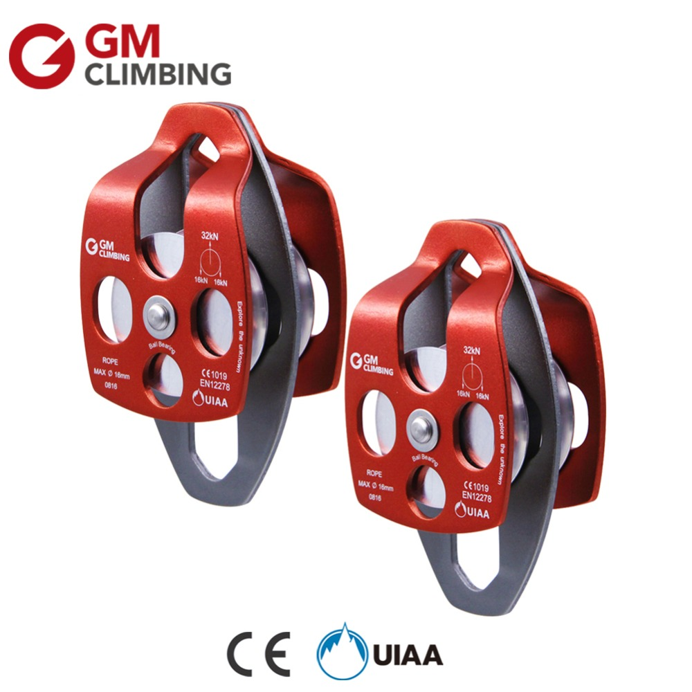 2pcs 32kN Large Rope Pulley CE / UIAA Ball Bearing Double Sheave Climbing Pulley Rescue Rigging Haulling Block and Tackle 1pcs climbing pulley 32kn aluminum alloy heavy duty single wheel swivel lifting rope pulley block climbing rigging rescue