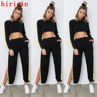 High Quality 2pcs Women Solid Black Casual Sets Short O Neck Long Sleeve Tops And Fashion