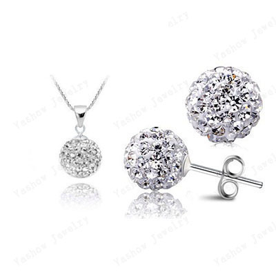 AENINE Crystal Sets Mix Colors Crystal Pendants Stud Earrings Micro Pave CZ Disco 10mm Beads Jewelry Sets SHSE51