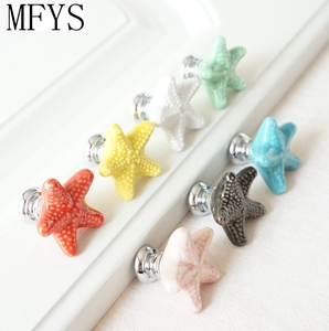 Ceramic Colorful Dresser Knobs Starfish Drawer Cabinet Knobs Kitchen Cupboard Knobs Decorative Handle Red Pink Yellow()
