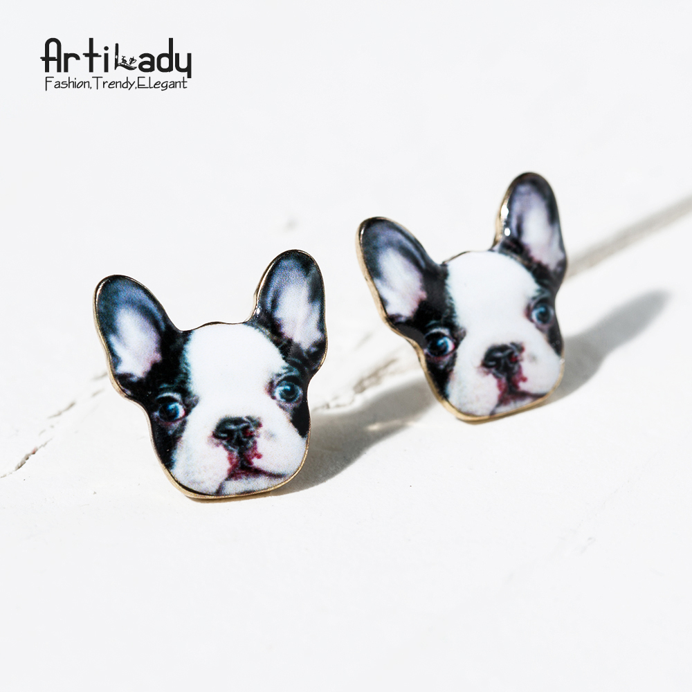 Artilady new two color cute French bulldog stud earrings jewelry summer style enamel Frenchie earrings for women gift