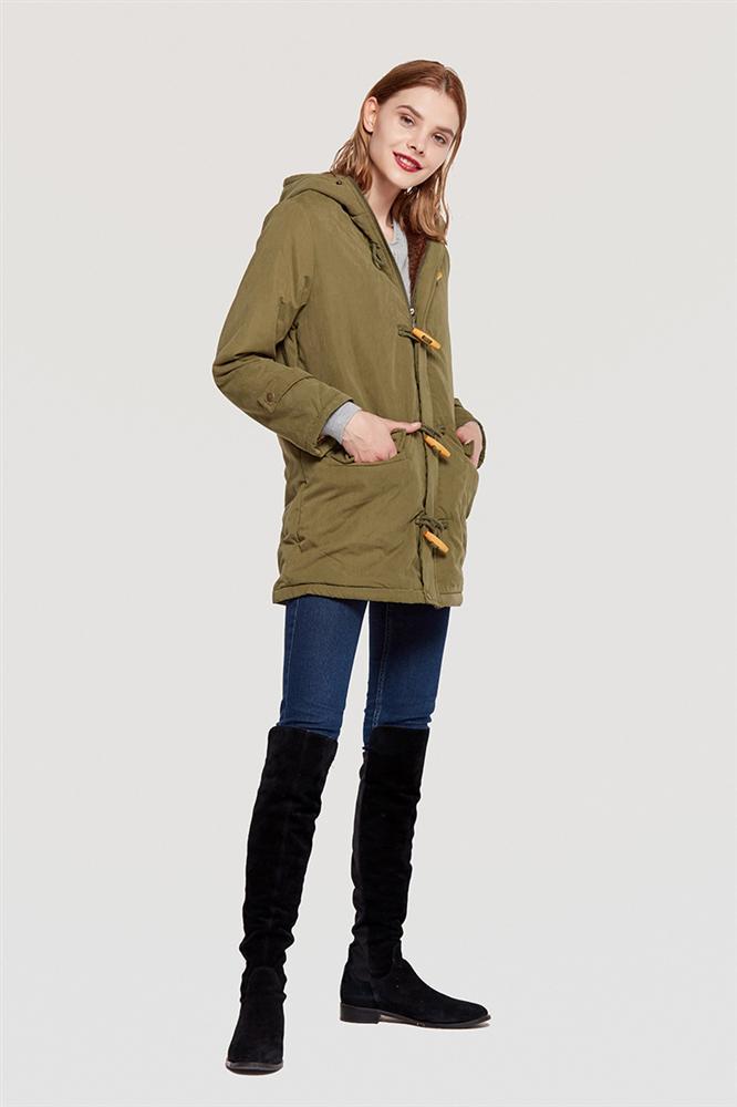 Green Agneau Laine marine Femmes Corne Noir Vêtements Capuchon bleu jaune rouge Taille En kaki Coton Bleu Ox Bouton army De rose Grande rembourré Long Avec Style Veste bourgogne RwOF8Wvqx