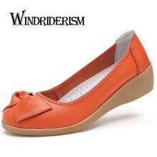 Женские туфли из натуральной кожи на плоской подошве новые Слипоны женские мокасины кожа Лоферы Брендовая дизайнерская обувь с бантом Sapato Feminino повседневная обувь