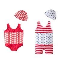 1Set Quality Enlarge Kids Boy Girls Swimsuit Practice Swimming Swimwear Seaside Beach Buoyant Bathing Suit With Bathing Cap