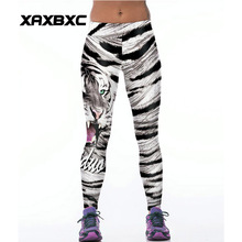 065 High Waist Workout Silm Fitness Women Leggings Elastic Pants Trousers For Sexy Girl Fashion Animal White Tiger Stripes Print