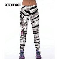 065 Taille Haute Entraînement Silm Fitness Femmes Leggings Élastique Pantalon Pantalon Pour Sexy Fille De Mode Animal Blanc Tiger Stripes Imprimer