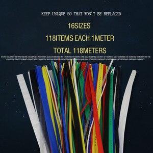 118 м/лот термоусадочная трубка набор смешанных цветов: 1 мм-30 мм различные красочные термоусадочные трубки изолированные кабельные рукава