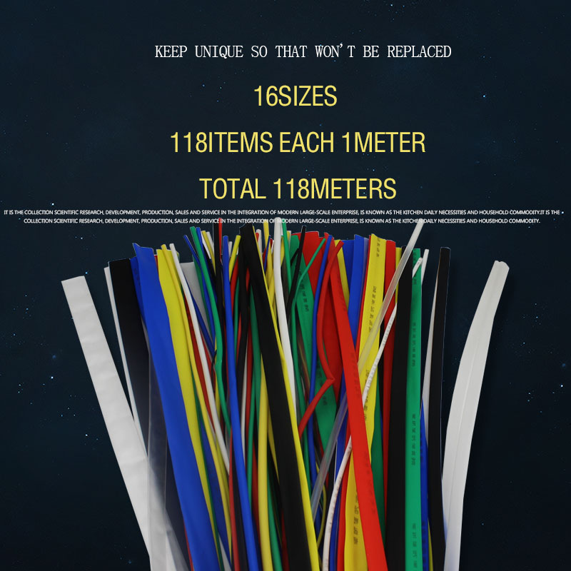 118Meters/lot Heat Shrinkable Tube suit  Mixed Color set: 1MM-30MM Assorted colorful heat shrink tubing insulated cable sleeve