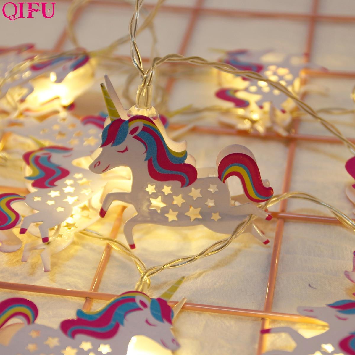 QIFU 10LED Unicorn Light Happy Birthday Party Decorations Warm Colourful Supplies Decor