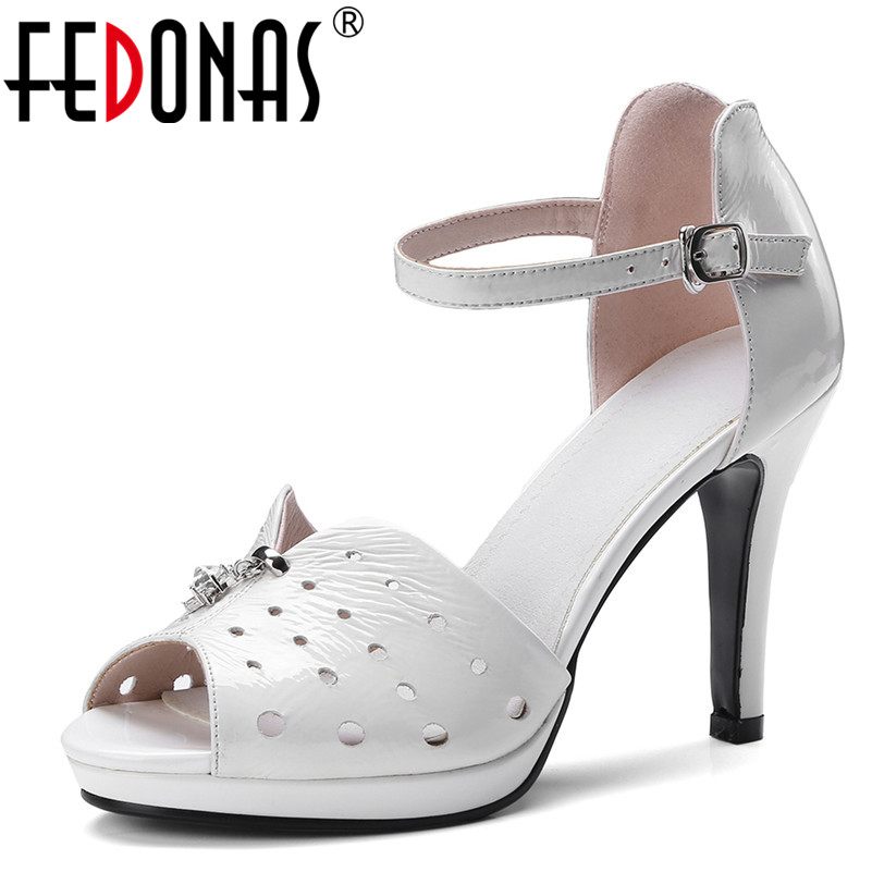 FEDONAS Summer Women Sandals Super 10CM High Heel Peep Toe Women Genuine Leather Shoes Woman Buckle Strap Platforms Female Pumps spring summer new fashion sexy women pumps peep toe wedges platforms high heels sandals shoes woman buckle 35 42 loslandifen