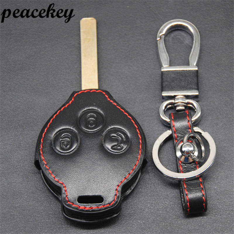 Peaceky Genuine Leather Car Keychain Key stikcer For Mercedes SMART Fortwo Cas 3 Button for benz key case