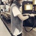 Nueva moda otoño invierno mujeres Sin Mangas de Cuello Alto color Sólido suéter femenino suéter de punto chaleco tops ropa