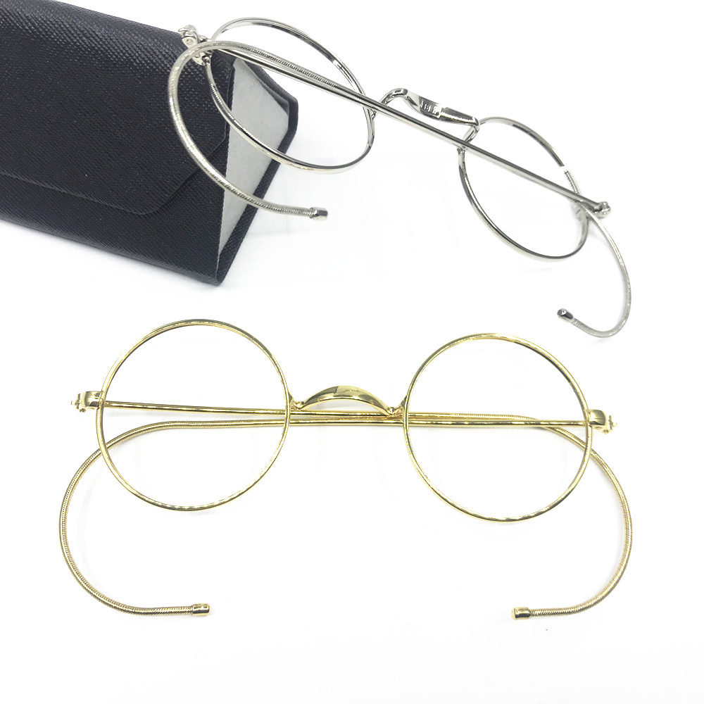 f6204631d988 Vintage Antique Round Wire Rim Eyeglass Frames Full Rim Ear Hooks Myopia Rx  able Glasses Brand