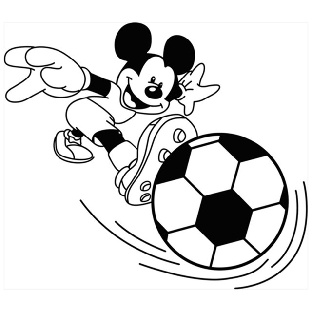 Boys Gift Anime Wall Stickers Mickey Mouse Plays Football 3d Vinyl Decals Home Decoration For Kids