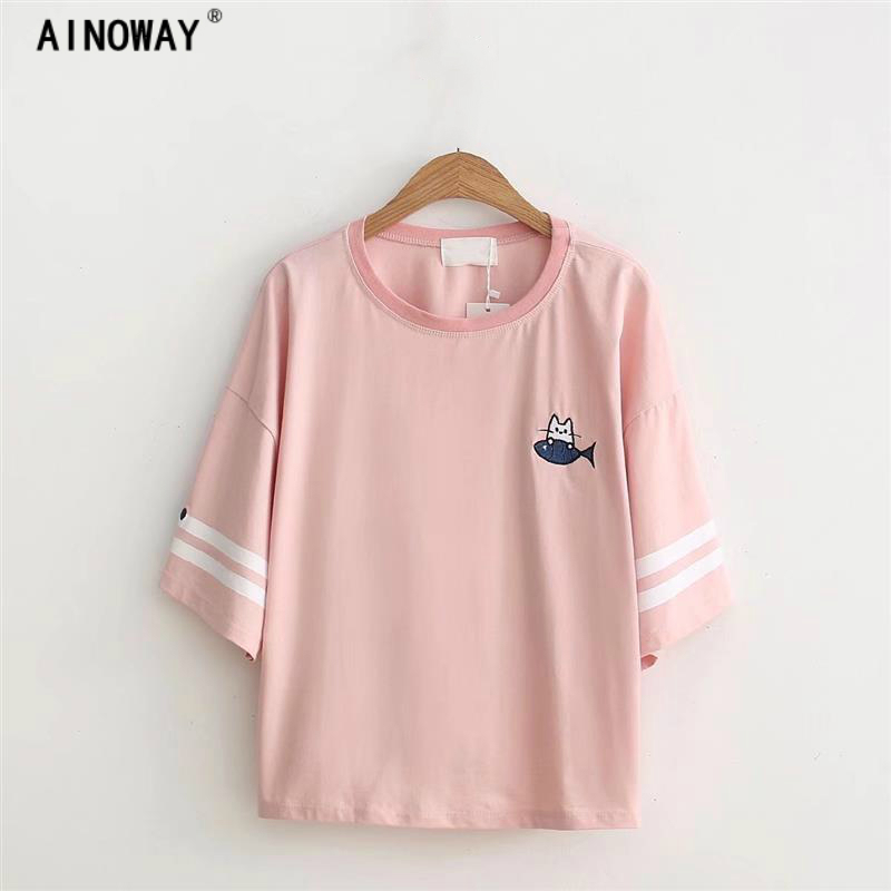 Harajuku kawaii t-shirt femmes style Coréen t-shirt tee kawai chat poissons emberoidery coton tops shirt t-shirt glands ventes chaudes