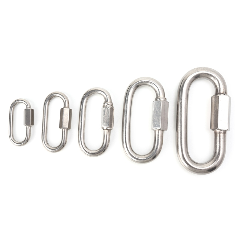Stainless Steel Screw Lock Climbing Gear Carabiner Quick Links Safety Snap Hook