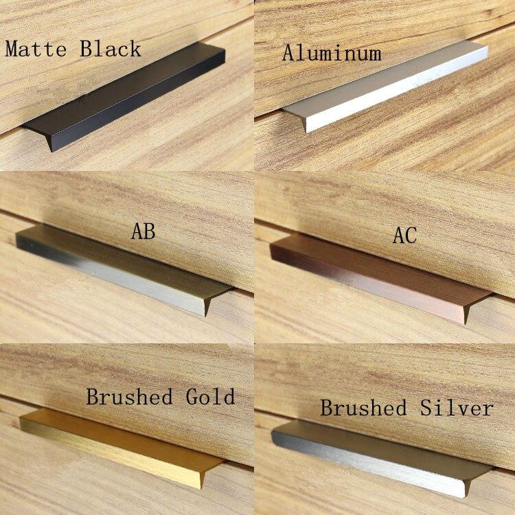 Moderne Einfache Schranktür Rand Griff Schrank Schublade Matte  Schwarz/gebürstetem Gold Versteckte Möbel Griff Küchenschrank