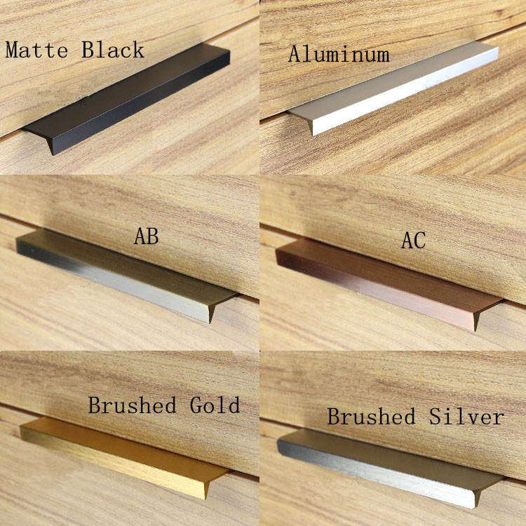 Modern simple cabinet door edge handle wardrobe drawer matte black/brushed gold hidden furniture handle kitchen cabinet pull contemporary and contracted brass material handle straight round bar cabinet cabinet wardrobe drawer artical metal handle
