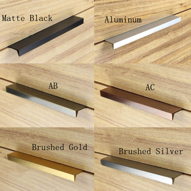 Modern Simple Cabinet Door Edge Handle Wardrobe Drawer Matte Black Brushed Gold Hidden Furniture Kitchen Pull