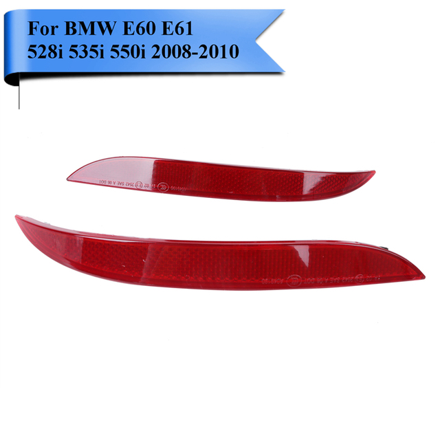2x Car Bumper Rear Reflector Light Strips For BMW E60 E61 528i 535i 550i 535xi 528xi 2008 2009 2010 #W100