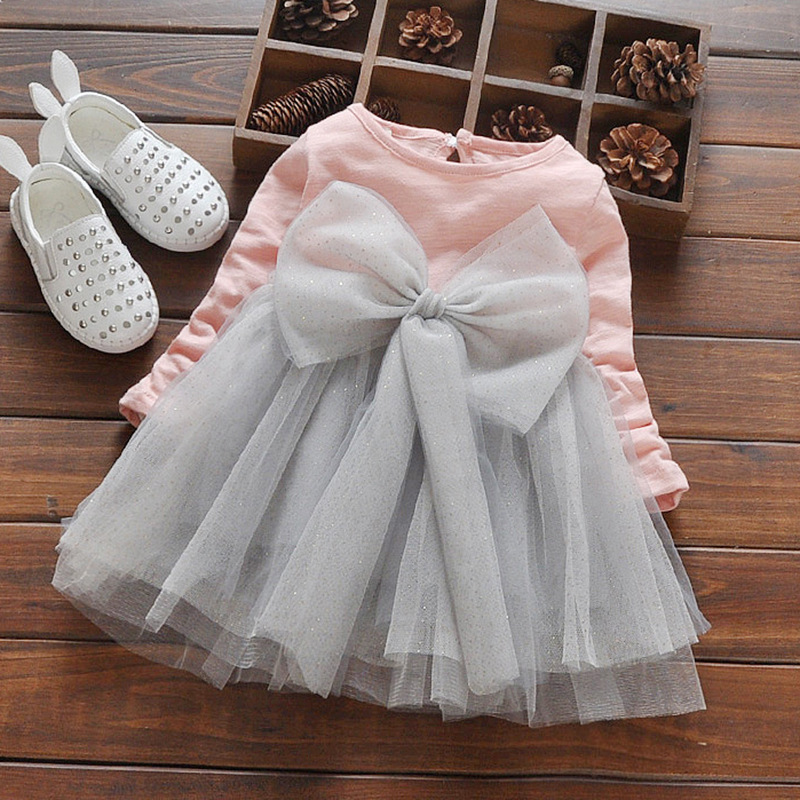 cb00e22da Baby Girls 2019 Autumn Cute Dress Children s Mesh Princess Big Bow ...