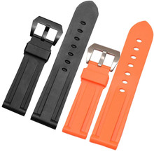 Free Shipping 24mm 26mm Replacement High Quality Waterproof Rubber Diver Watch Band / Strap + Clasp For PAM все цены