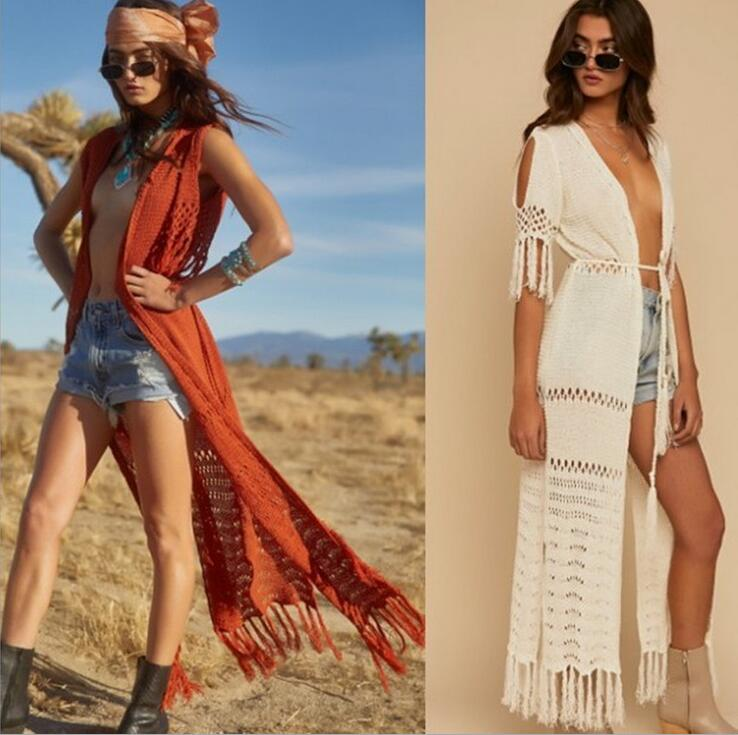 Knit Long Beach Cover Up Beach Tunics For Beach Swimsuit Cover Up Robe Plage Tassel Bathing Suit Women Crochet Cover Up Promoting Health And Curing Diseases Sports & Entertainment