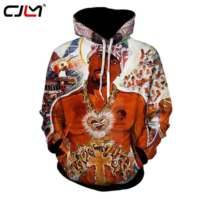 bb8102e876567 CJLM 3D Hoodies New Fashion Cool Print 2PAC Rap Tupac Mens Hoodie  Sweatshirts Casual Hip Hop Streetwears Sweats Jerseys Dropship