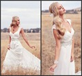 RomanticV Neckline Boho Wedding Dress Sexy Backless Beach Wedding Dresses 2017 Chiffon Count Train Vestido De Noiva