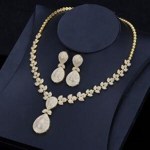 Image 4 - CWWZircons Noble Micro Pave cyrkonie luksusowe dubaj złoty kolor naszyjnik biżuteria ślubna dla nowożeńców zestawy dla kobiet T157