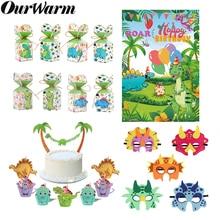 Теплые вечерние обертки в виде динозавра для детей на день рождения с изображением динозавра, кекса, конфет, Подарочная коробка, маска динозавра, фон для фотосъемки, вечерние принадлежности