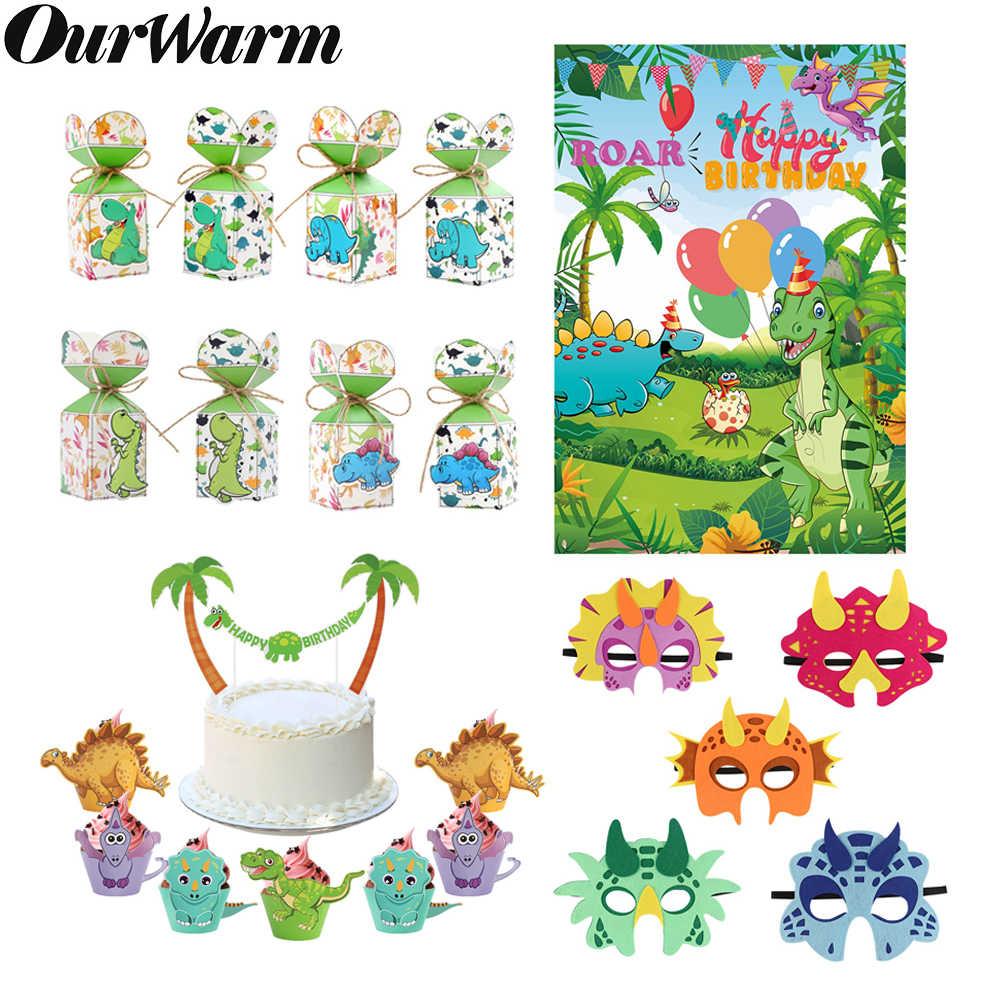 OurWarm dinosaurio de los niños fiesta de cumpleaños de dinosaurio Cupcake envoltura caja de dulces regalos máscara fotografía telón de fondo fiesta suministros
