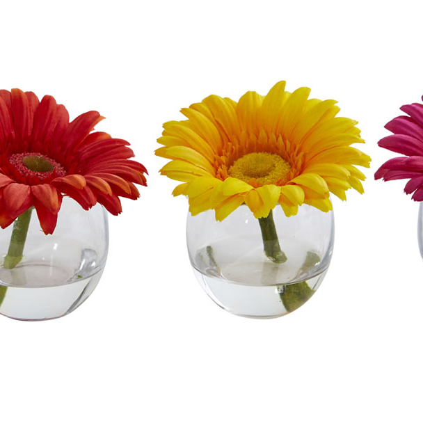 Nearly Natural Gerbera Daisy Artificial Arrangement In Glass Vase