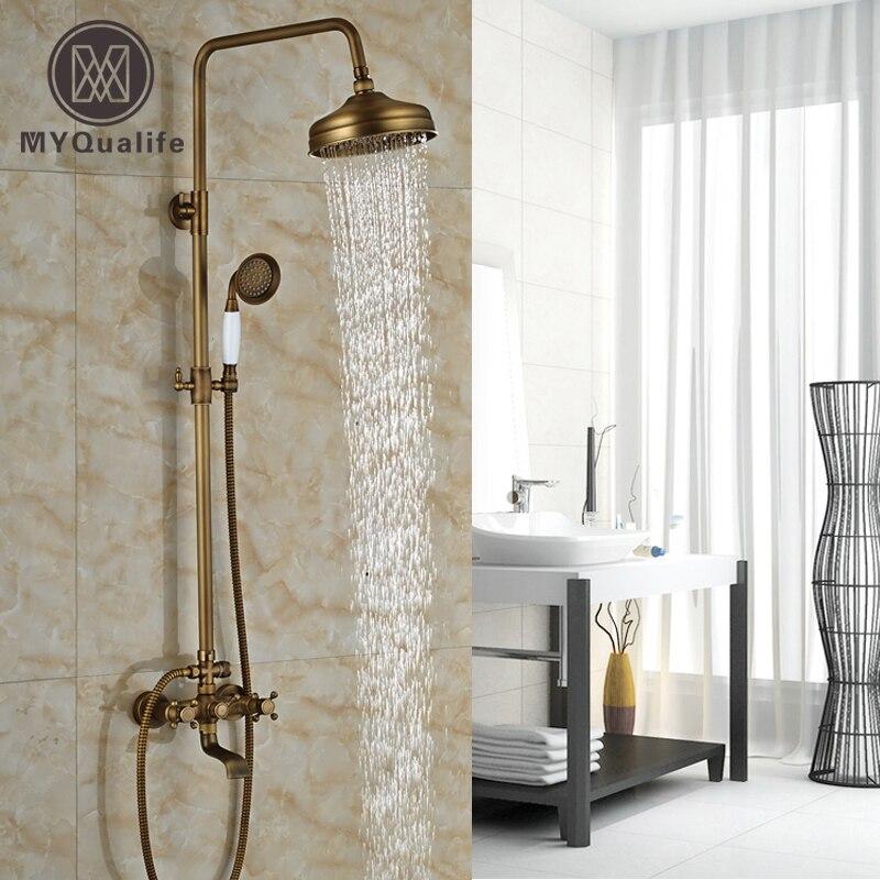 Φ_ΦClassic Wall Mount Rainfall 8 Brass Showerhead Bath Shower Faucet ...