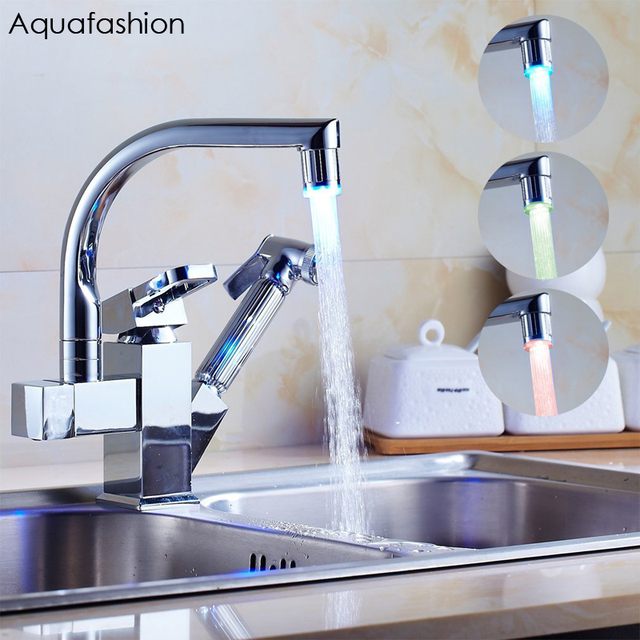 LED Pull Out Spray Kitchen Sink Faucet Double Spout Kitchen Sink Mixer Tap  Brass Kitchen Sink
