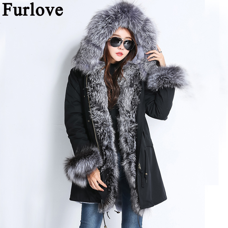 Furlove parka 2017 winter jacket women fur coat natural real fox fur collar thick warm long parkas big fur outerwear Detachable real fox fur liner winter jacket women new long parka real fur coat big raccoon fur collar hooded parkas thick outerwear