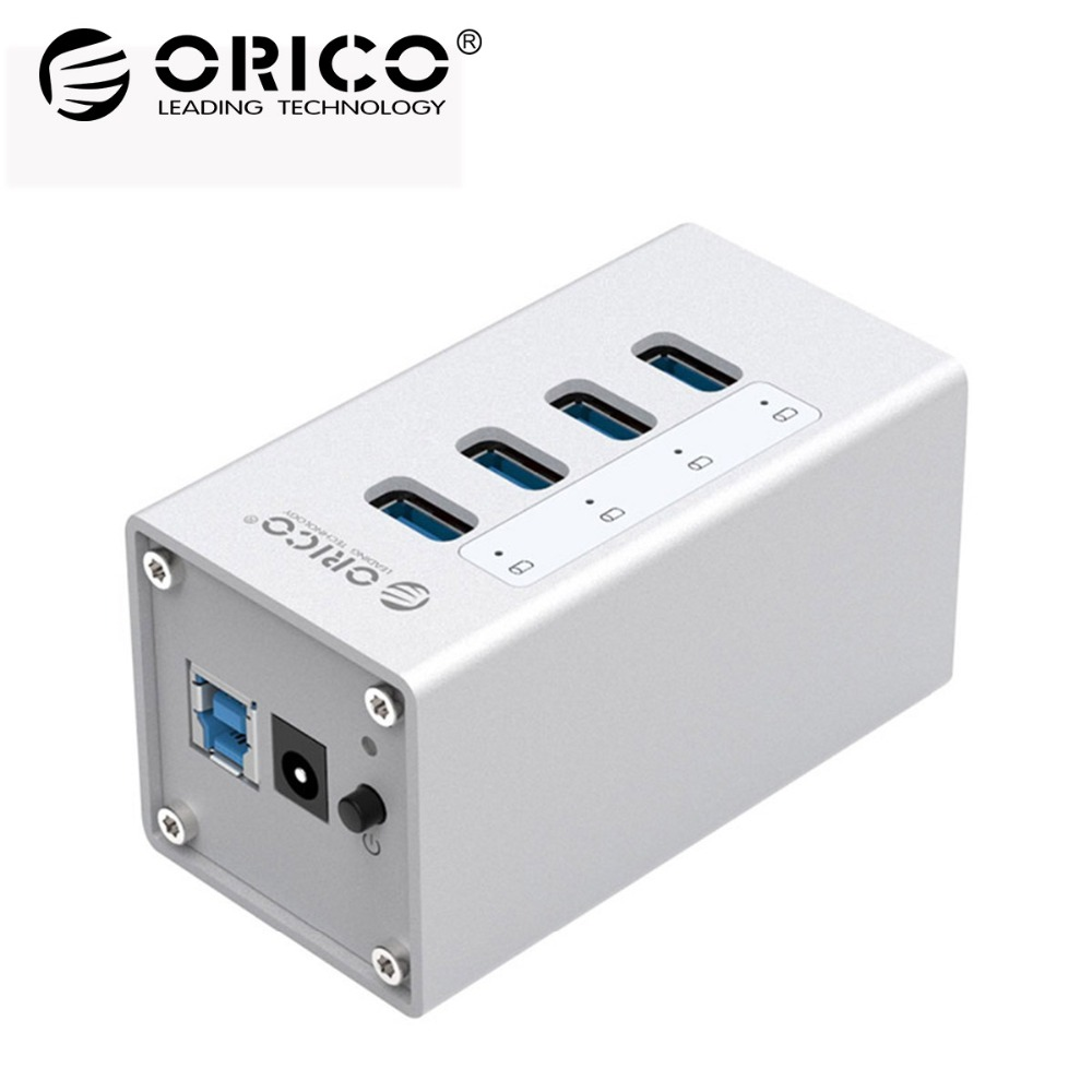 ORICO Aluminum 4 Port USB 3.0 HUB High Speed 5 Gbps Multi USB Splitter Laptop Accessorie with 12V Power for Computer PC (A3H4) orico usb hub 7 ports 5 gbps usb3 0 hub splitter support bc1 2 charging with 12v dc charging port
